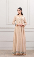 Golden frock with handcrafted front and back body and attached 5 side mirror lace on the sleeves and border