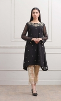 Black Schiffon shirt with Golden Neck work and Embellished front and sleeves