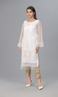 White Khaddi Net shirt with Indian Zarii Embroidery