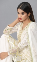 White Self booti Khaddi Shirt with Embellished Neck work and Gota work on front, sleeves and daaman.  Organza dupatta with Gota work finished with Gota frill lace  Lengha in Raw silk fabric finished with Gota lace   Please note the product color may differ in actual than in photoshoot pictures