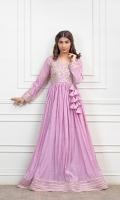 Lavender Paper cotton fabric frock with Gota work on body and sleeves, attached with custom flower dori, finished with samosa lace.