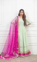 Mint green paper cotton frock with neck and sleeves embellished work, followed by jamawar criss cross finishing on sleeves and jamawar and gota plus lace finishing on daaman.