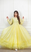 Lemon Paper cotton frock with mirror work embellishments on front and back, finished with organza frillwork in daaman and white laces on sleeves and panels.