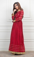 Reddish Maroon Paper cotton frock, with Handwork embellished work on body and sleeves, followed by gota work on wrist and daaman.