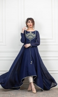 Navy Blue Paper cotton frock with Handwork Embellished bunch on body, followed by samosa lace finishing and matching thread dori attached on front.
