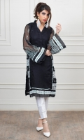 Material: Black Khaddi net fabric shirt with white embroidery and Lace work  Black net dupatta with Lace work  Cotton fabric trouser