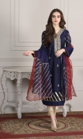 navy blue khaddi net shirr with mirror and kora work on front, followed by gota work on sleeves and daaman, finished with maroon dual color pipin  Dupatta organza fabric in 2 tone color with gota work on corners
