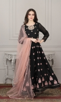Black paper cotton frock with embellished body work and embroidered motives on kali, followed by sleeves lace work and finishing with copper samosa lace  Dupatta fine net fabric finished with copper samosa lace