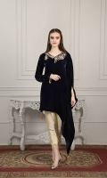 Navy blue velvet shirt with neck handwork and sleeves embellishments. Followed by pearl tassels on both corner ends.
