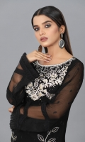 Beautiful Black Semi pure schiffon Embroidered Shirt, with Embellished touch work on Embroidery and finished with Lace and Organza.  Embroidered Dupatta in Net fabric with Attached Tassels in corners