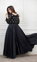 Black Schiffon Dress with Hand Embroidered work on body and sleeves, daaman in satin silk fabric to give a blended outlook.