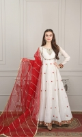 white paper cotton frock eith embroidered Kalis and exquisite hand embroidered body work, finished with velvet embroidered lace, mini samosa laces and gota laces  Reddish maroon Organza gota lace work dupatta