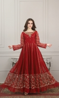 Reddish maroon khaddi net fabric frock with embroidered Kalis and border, along with Exotic Hand Embroidery bodywork, finished with samosa lace and organza frills  Organza 2 shade dupatta with lace and gota finishing