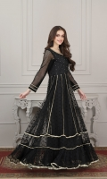 self net fabric frock with embellished body work and beautiful lace finishing all over.