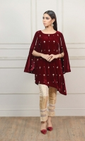 Maroon Side Cut Hand-Embellished Shirt with Sleeves attached with Golden shiny balls