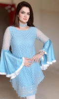 Fully Embroidered Sky Blue Net shirt with Embellishments on daaman and frill silk sleeves.