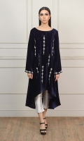 Beautiful Navy Blue Velvet Shirt with Silver Embellishments on front and sleeves bell.