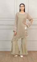 Fawn color 2 piece with Embellished bunch on side of the shirt and tassel lace attached on sleeves and trouser bottom