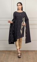 Black Thick Jorjet fabric with Hand Embroidered bunch and Embellishments, with Long Sleeves cut and Balls attached to them