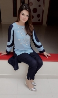 Beautifully Crafted Dual Color Shirt in Jorjet Fabric with Embellishments on the front Sky Blue color.