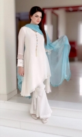 White Self Jorjet Fabric with Front Gala Patti work and Embellishment on sleeves cut with hanging Tassle Lace.
