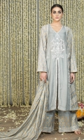 Grey Cotton Silk front open panelled shirt with block print on the side panels and sleeves and embroidery on the neckline, the front slit and the front panel seam.