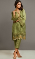 Pure Raw Silk Shirt with diagonal pin tucks on the front and embroidery on the neck line and daaman with organza lace border on sleeves; with fitted cigarette pants