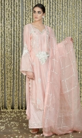 Baby Pink Cotton Silk long shirt with round scalloped and embroidered hemline, with block printed bootis all over on front and back and embroidered sleeves and neckline and embellished at the back in gota kinari.