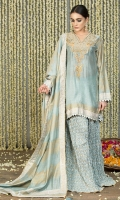 Powder Blue Cotton Silk Panelled Shirt with block printed border on the front and back and block printed sleeves with embroidered gold tilla neckline and embellished in gota kinari.