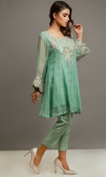 Organdie Paneled flared knee length shirt with embroidered neckline and sleeves border; fitted cigarette pants