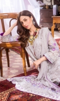 Chiffon Embroidered Shirt Front 1.25 Mtr Chiffon Shirt Back 1.25 Mtr Chiffon Embroidered Sleeves 0.5 Mtr Chiffon Embroidered Dupatta 2.5 Mtr Raw Silk Trouser 2.5 Mtr Inner 2 Yard