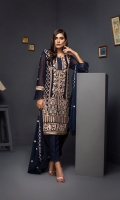 Embroidered Shirt Front + Sleeves 1.75 Mtr Shirt Back 1.25 Mtr Inner 2 Yards Embroidered Chiffon Dupatta 2.5 Mtr Raw Silk Trouser 2.5 Mtr