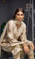 Embroidered Shirt 3 Mtr Inner 2 Yards Embroidered Chiffon Dupatta 2.5 Mtr Jamawar Trouser 2.5 Mtr Embroirdered Trouser Lace 1 Yard