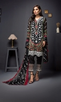 Embroidered Shirt 3 Mtr Inner 2 Yards Embroidered Chiffon Dupatta 2.5 Mtr Raw Silk Trouser 2.5 Mtr Embroirdered Lace 1 Yard
