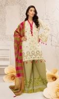Shirt 3 Mtr Emb ( Chikan Kari) Khaddi Dyed Yarn Cotton Dupatta 2.5 Mtr Printed Trouser 2.5 Mtr