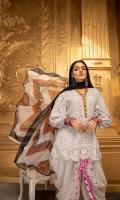 Shirt Schiffli 3 Mtr Emb ( Chikan Kari) Chiffon Dupatta 2.5 Mtr Printed Trouser 2.5 Mtr