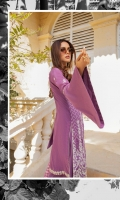 1.25 Mtr Embroidered Shirt Front 1.25 Mtr Shirt Back 0.5 Mtr Embroidered Sleeves 2.5 Mtr Chiffon Embroidered Dupatta 2.5 Mtr Trouser