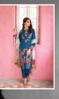1.25 Mtr Embroidered Shirt Front 1.25 Mtr Shirt Back 0.5 Mtr Embroidered Sleeves 2.5 Mtr Digital Chiffon Dupatta 2.5 Mtr Trouser