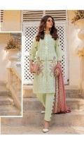 1.25 Mtr Embroidered Shirt Front 1.25 Mtr Shirt Back 0.5 Mtr Embroidered Sleeves 2.5 Mtr Chiffon Dupatta 2.5 Mtr Trouser