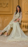 1.25 Mtr Organza Embroidered Shirt Front 1.25 Mtr Organza Shirt Back 0.5 Yard Organza Embroidered Sleeves 2.5 Mtr Net Embroidered Dupatta 2.5 Mtr Raw Silk Trouseer 2 Yard Inner 1 Yard Embroidered Lace