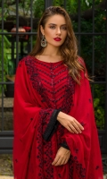 1.25 Mtr Chiffon Embroidered Shirt Front 1.25 Mtr Chiffon Embroidered Shirt Back 1 Mtr Chiffon Embroidered Sleeves 2.5 Chiffon Embroidered Dupatta 2.5 Mtr Raw Silk Trouser 2 Yard Inner 1 Yard Embroidered Trouser Lace