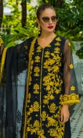 1 Mtr Organza Embroidered Shirt Front 1 Mtr Organza Shirt Back 0.75 Yard Organza Embroidered Sleeves 2.5 Mtr Organza Embroidered Dupatta 2.5 Mtr Raw Silk Trouseer 2 Yard Inner 8 Mtr Embroidered Dupatta Lace 2 Pcs Embroidered Front Kalyaan 2 Pcs Embroidered Daman Border 1 Yard Embroidered Trouser Lace