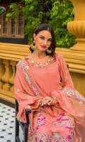 1 Mtr Chiffon Embroidered Shirt Front 1 Mtr Chiffon Embroidered Shirt Back 0.5 Mtr Chiffon Embroidered Sleeves 2.5 Mtr Chiffon Embroidered Dupatta 2.5 Mtr Raw Silk Trouser 2 Yard Inner