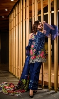 Lawn Embroided Shirt Front 1.25 meter Dyed Lawn Shirt Back 1.25 meter Dyed Lawn Slevees 0.65 meter Digital Printed Silk Dupatta 2.50 meter Dyed Lawn Trouser 2.50 meter Embroidery Border On Organza 03 Embroidery BUNCH On Organza