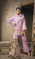 Lawn Embroided Shirt Front 1.25 meter Dyed Lawn Shirt Back 1.25 meter Dyed Lawn Slevees 0.65 meter Dyed Lawn Trouser 2.50 meter Digital Printed Silk Dupatta 2.50 meter 1 Embroidery BUNCH On Organza 1 Embroidery Border On Organza