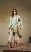 Dyed Jacquard Shirt Front 1.25 meter Dyed Jacquard Shirt Back 1.25 meter Dyed Jacquard Slevees 0.65 meter Dyed Lawn Trouser 2.50 meter Digital Printed Silk Dupatta 2.50 meter 2 Embroidery Border On Organza 02 Embroidery BUNCH On Organza