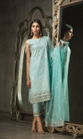 Embroided Cambric Shirt Front 1.25 meter Silver Paste Cambric Shirt Back 1.25 meter Embroided Cambric Slevees 0.65 meter Poly net Embroided Dupatta 2.50 meter Cambric Dyed Trouser 2.50 meter 03 Embroidery Border On Organza