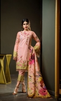 Lawn Embroided Shirt Front 1.25 meter Gold paste Lawn Shirt Back 1.25 meter Gold paste Lawn Slevees 0.65 meter Digital Printed Silk Dupatta 2.50 meter Dyed Lawn Trouser 2.50 meter Embroidery Border On Organza 03 Embroidery BUNCH On Organza