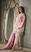 Lawn Embroided Shirt Front 1.15 meter Lawn Embroided Back Front 1.25 meter Lawn Embroided Slevees 0.65 meter Digital Printed Silk Dupatta 2.50 meter Dyed Lawn Trouser 2.50 meter Embroidery Border On Organza 02 Embroidery BUNCH On Organza