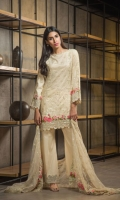 Embroided Jacquard Shirt Front 1.25 meter Gold Paste Jacquard Shirt Back 1.25 meter Embroided Jacquard Slevees 0.65 meter Poly Net Embroided Dupatta 2.50 meter Dyed Cambric Trouser 2.50 meter Digital Printed Satin Silk Border1.50 meter  02 Embroidery Border On Organza